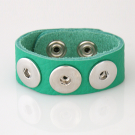Drukker armband groen 22 cm echt Togo Leer