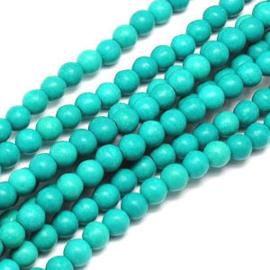 20 x keramiek turquoise kralen rond 8 mm