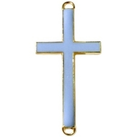 2 x Bedel goud 2 ogen kruis kruis medium Blauw grijs 46 x 23 mm groot