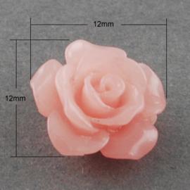 4 x roosjes van Resin synthetisch koraal 12 x 12 x 8mm Gat: 2mm roze