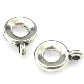 5x DQ Metaal Platte Ring met oog 11x8 mm voor 3 mm koord 5 st