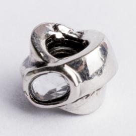 Be Charmed kraal zilver met een rhodium laag (nikkelvrij) c.a.11x 4.7mm groot gat: 4mm