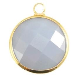 Crystal glas hanger rond 16mm Aqua blue opal-Gold