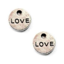 10x Love Bedeltje Antiek Zilver ca 10 mm ♥