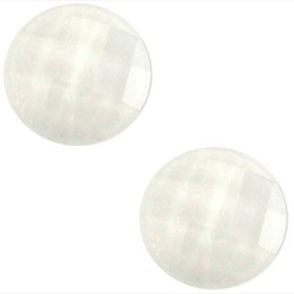 2 x Basic cabochon 10mm Wit glitter