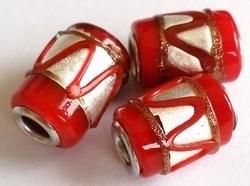 Per stuk Glaskraal met metaal European-style rood zilverfolie 16 mm