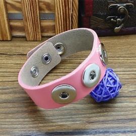 Drukker armband van runderleder en drukknoopsluiting enkele rij voor drie verwisselbare drukkers roze