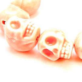 5 x Porceleinen Schedel 15x12 Peach Roze