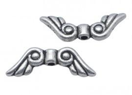 10 stuks tibetaans zilveren vleugeltje 16 x 5 x 3mm gat: 1,5mm