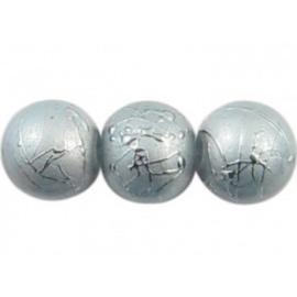 25 stuks Mooie bewerkte zilverkleurge glaskralen met een blauwe gloed 8mm