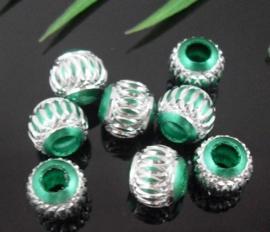 10 x Prachtige groene aluminium kraal 10mm