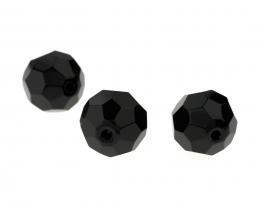 3 x Glaskraal facet kristal zwart 20mm prachtige glans