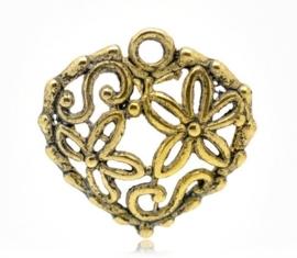 5x Tibetaans zilveren hartje 20 x 20 mm goudkleur