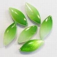 Per stuk Parelmoer kraal plat ovaal duo-kleur Groen 17 mm