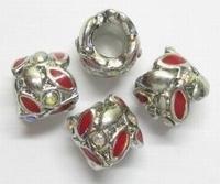 Per stuk Metalen Europan-style met rode epoxy en strass 9 mm