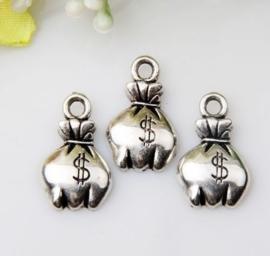 5 x Tibetaans zilveren zak met geld 19x11mm