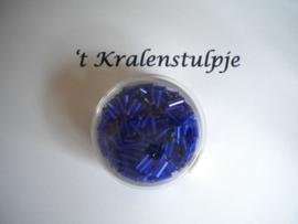 Pracht - glasstiften buisjes met zilverinslag 6mm 17 gram donker blauw