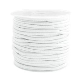 3 meter gekleurd elastisch draad van rubber voorzien van een laagje stof  0,8mm White