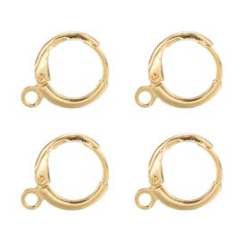 2 stuks echt 18K gold plated oorbellen met oogje 14,7 mm x 11,7 x 2mm oogje: 1,8mm Nikkelvrij