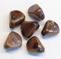 Per stuk Glaskraal marmer bruin grillig gevormd 12 mm