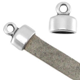 1 x   DQ metaal eindkapje met oog (voor 5mm plat leer) Antiek zilver (nikkelvrij)