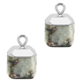 1 x Natuursteen hangers square Fossil grey-silver Shimmer Stone