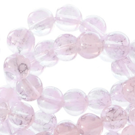 30 x 8 mm glaskralen transparant gemêleerd Light pink