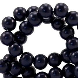 40 x 4 mm glaskralen half mat Midnight blue