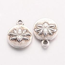 4 stuks tibetaans zilveren  bedel lotus bloem 16 x 13 x 3,5mm gat:  2mm
