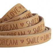 20 cm Plat imi leer 10mm met quote Love Dream Smile Cognac brown ♥