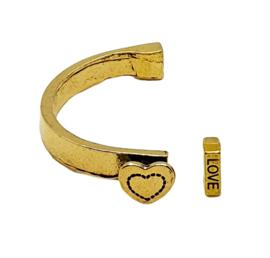 Halve armband met hart metaal goud