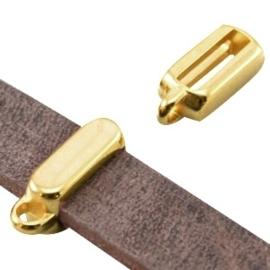5 x DQ metaal schuiver met oog rechthoek (voor DQ leer plat 5mm) Goud (nikkelvrij)