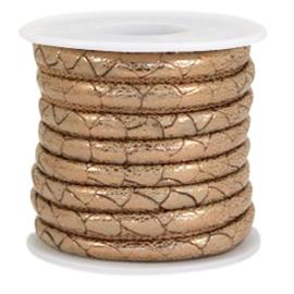 1 rol met 4 meter gestikt imitatie leer 6x4mm Reptile Soft brown-Copper metallic (kies voor pakketpost)