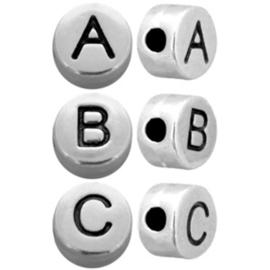 5 x  compleet alfabet Antiek zilver metallook letterkralen