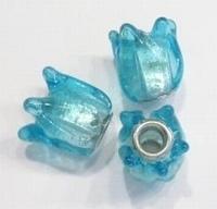 Per stuk Glaskraal European Jewelry bedel tulp aqua zilverfolie 15 mm