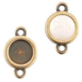 1x DQ metaal settings 2 ogen voor 7mm cabochon en SS34 flatback Antiek brons ca. 16x10mm (Ø7mm binnenmaat)
