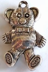 Per stuk metallook Antiek zilveren hanger teddy-beer 38 mm