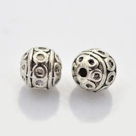 10 stuks Tibetaans zilveren bewerkte ronde kraal Kleur: antiek zilver Maat +/- 8mm
