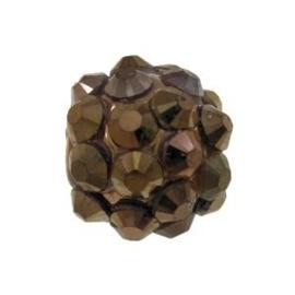 4 x Resin Rhinestone Kraal Coffee 10 mm Ø 2.2 mm