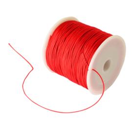 10 meter gevlochten nylon koord, imitatie zijden draad 1mm rood