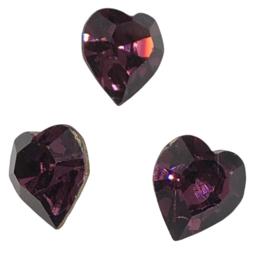 2x Precosia kristal in de vorm van een hart Paars 10 mm