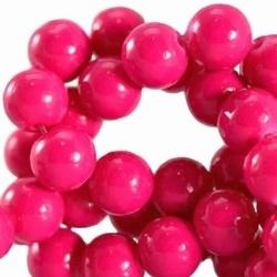 15 stuks Glaskraal rond met keramiek coating Fuchsia Roze. 8 mm