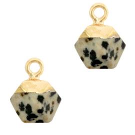 1 x Natuursteen hangers hexagon Greige-gold Spotted stone