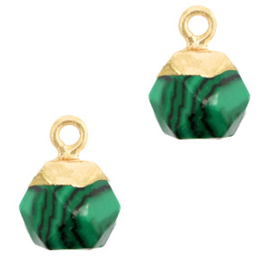 1 xNatuursteen hangers hexagon Green-gold Peacock stone