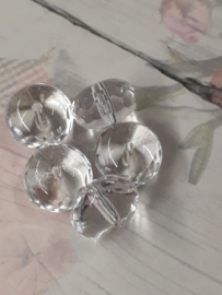 1x mooie schijfvormige glaskraal transparant 7 x 10 mm gat : 1 mm