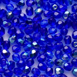 30  x ronde Tsjechië facet kristal kraal afm: 4mm Kleur: ab blauw gat c.a.: 1mm