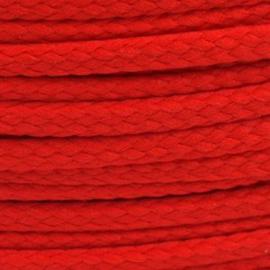 1 meter sieradenkoord c.a. 5 x 3mm kleur Fiesta Rood