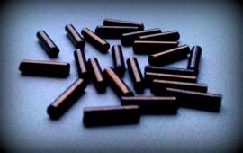 Per stuk acryl staafjes paars gemeleerd ca 25 gram 9/2 mm