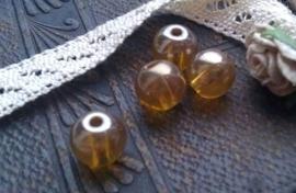 10 Stuks Glaskraal oker geel met mooie glans 8 mm