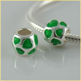 :Groene Hartjes met Emaille 925 Sterling Zilver